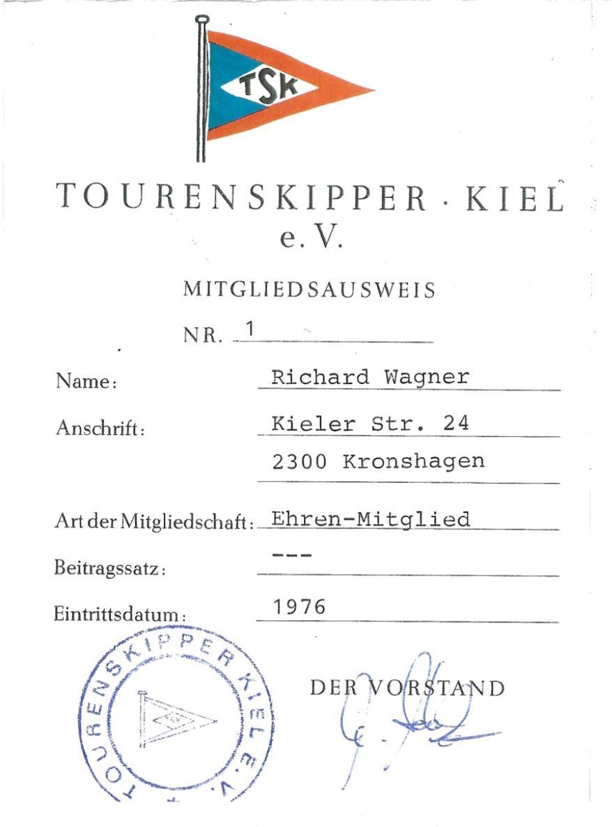 Richard Wagner Mitgliedsausweis Nr 1